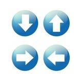 Szklisty błękitny strzałkowaty sieci ikony guzik royalty ilustracja