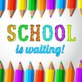 Szkoła czeka - wręcza patroszonego literowanie z royalty ilustracja