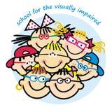 Szkoła dla wzrokowo nadwyrężonego, grupa dzieci z eyeglasses Fotografia Royalty Free