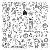 Szkoła, dzieciniec Szczęśliwi dzieci Twórczość, wyobraźni doodle ikony z dzieciakami Sztuka, nauka, r Szczęśliwych uczni royalty ilustracja
