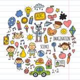 Szkoła, dzieciniec Szczęśliwi dzieci Twórczość, wyobraźni doodle ikony z dzieciakami Sztuka, nauka, r Szczęśliwych uczni ilustracja wektor