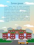 szkoła, klasyczny budynek Przeciw niebu i miastu, Wizerunek pionowo format z próbka tekstem ilustracja wektor