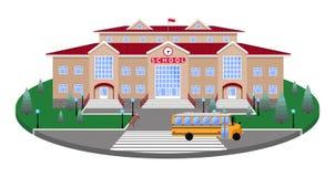 Szkoła, klasyka lekki beżowy ceglany dom kółkowa platforma gazon drogowy, zwyczajny skrzyżowanie z 3D skutka sectio, royalty ilustracja
