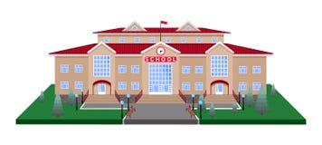 szkoła, klasyka lekki beżowy ceglany dom Na kwadratowej gazon platformie z drogą z 3D skutkiem ilustracja wektor
