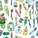 Szkoła postać z kreskówki materiały: Ołówek, Balowy pióro, ostrzarka, władca, gumka bezszwowy wzór royalty ilustracja