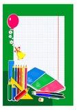 szkoła, szczęśliwi, coloured ołówki, dosyć śmieszny szczęśliwy, szkolny dzwon, balony, kwiaty, ilustracja wektor