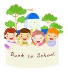 Szkoła sztandar i dzieciaki Zdjęcia Royalty Free