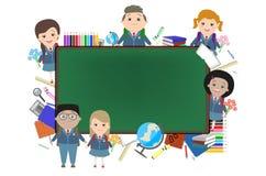 Szkoła, tło, dzieci na tle uczy kogoś kredę Obraz Stock