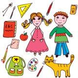 Szkoła ustawiająca - dzieciaki i przedmioty Fotografia Stock