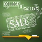 Szkoła wyższa dzwoni sprzedaż na chalkboard z royalty ilustracja