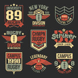 Szkoła wyższa rugby drużyny emblematy Obraz Royalty Free