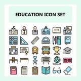Szkoły i edukacji ikony set, w nowym stylu w wypełniającym niepowiązany ze sobą konturu stylu royalty ilustracja
