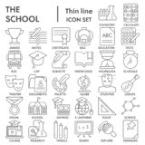 Szkoły ikony cienka linia PODPISUJĄCY set, edukacja symbole kolekcja, wektor kreśli, logo ilustracje, nauka znaki liniowi ilustracji