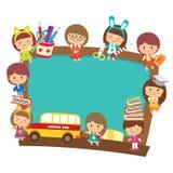 Szkoła dzieciaki z blackboard projektem Obraz Royalty Free