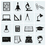 Szkoły i edukaci ikony. Obrazy Stock
