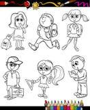 Szkoła dzieciaków kreskówki kolorystyki grupowa książka Zdjęcie Royalty Free