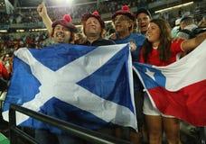 Szkocja fan poparcia olimpijski mistrz Andy Murray Wielki Brytania podczas mężczyzna przerzedże finał Rio 2016 olimpiad Obraz Stock