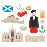 Szkocja punkt zwrotny St Giles Edynburg i katedry kasztel szkocki jedzenie, bagpiper w kilt, flaga i oset, ilustracji
