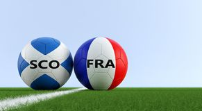 Szkocja vs Francja mecz piłkarski - piłek nożnych piłki w Szkocja i Francja krajowych kolorach na boisko do piłki nożnej Royalty Ilustracja