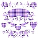 szkocka krata dekoracyjny lawendowy set Obrazy Royalty Free