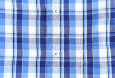 Szkocka krata mężczyzna koszula, guzika zakończenia tło Obrazy Royalty Free