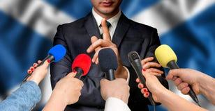 Szkocki kandydat mówi reportery - dziennikarstwa pojęcie Obrazy Stock