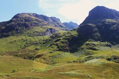 Szkocki średniogórze krajobraz w lecie Zdjęcia Royalty Free