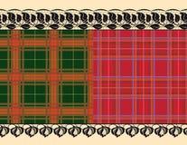 Szkockiej kraty tkanina, delikatna broderia royalty ilustracja