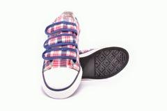 Szkockiej kraty tkaniny buty z gumowymi podeszwami Zdjęcie Stock