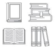 Szkolna biblioteka rezerwuje ikona set, konturu styl royalty ilustracja