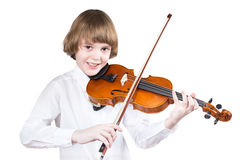 Szkolna chłopiec bawić się skrzypce Obraz Stock