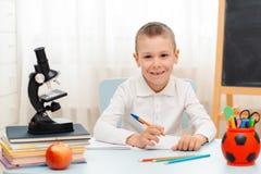 Szkolna chłopiec siedzi sali lekcyjnej łgarskiego biurko w domu wypełniał z książka stażowego materiału uczniem śpi gnuśnego zanu obraz stock