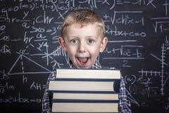 Szkolna chłopiec i blackboard Obraz Stock