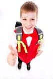 Szkolna chłopiec - kciuk up Zdjęcia Stock