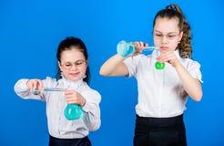 Szkolna dzieciaka naukowa studiowania nauka ma?e m?drze dziewczyny z probiercz? kolb? dziecko nauki chemii lab biologia fotografia royalty free