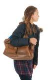 Szkolna dziewczyna z szkolnym baag Fotografia Royalty Free
