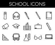 Szkolna kreskowa ikona ustawiająca z prostą ikoną ilustracja wektor