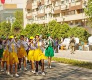 Szkolna parada, dziecko ochrony dzień Obraz Royalty Free