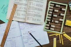 Szkolna praca domowa w Radzieckim okresie Zdjęcie Stock
