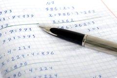 Szkolna ćwiczenie książka w mathematics Obraz Royalty Free