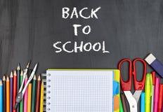 Szkolne dostawy szkoła i z powrotem zdjęcia stock