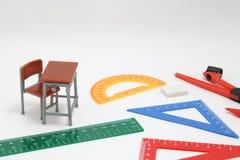 Szkolne dostawy używać w klasie, geometrii lub nauce matematyki, Mathematics geometrii narzędzie dla ucznia w matematyki klasie n Zdjęcia Stock