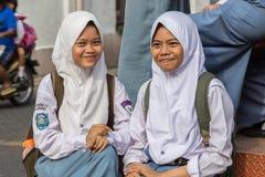 Szkolne dziewczyny w Semarang, Zachodni Jawa, Indonezja zdjęcia royalty free