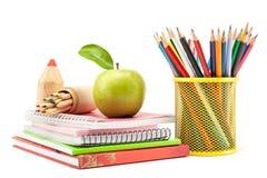 Szkolne i biurowe dostawy na białym tle szkoła, z powrotem Zdjęcie Stock