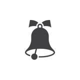 Szkolnego Bell ikony wektor, stały logo, piktogram odizolowywający na bielu Obrazy Stock