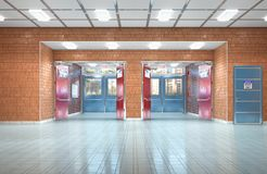 Szkolnego korytarza wewnętrzny wyjście obraz royalty free