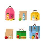 Szkolnego lunchu plecaka i pudełka ikony odizolowywać na białym tle Fotografia Stock