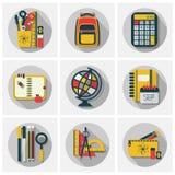 Szkolnego materiały ustalone ikony ustawiać z długim cieniem na szarym tle Obrazy Stock