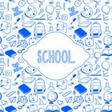 Szkolnego tematu karciany projekt, ręka rysujący szkolni elementy Obrazy Stock