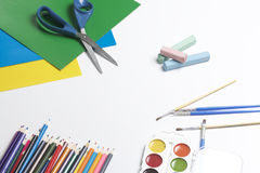 Szkolni akcesoria dla twórczości obrazy royalty free